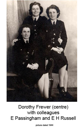 E H Russel, Dorothy Frewer, E Passingham, Banstead Fire Station 1944