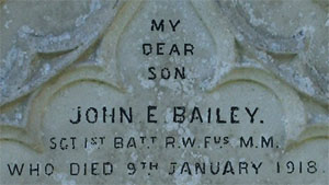 J E Baily Headstone, digitally enhanced for clarity