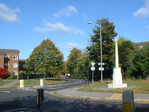Banstead memorial next to mini roundabout at the eastern end of the High Street